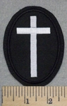2583 L - Oval White Cross - Black Border - Embroidery Patch