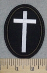 2584 L - Oval White Cross - Brown Border - Embroidery Patch