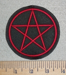 3088 L - Pentagram - Red - Embroidery Patch