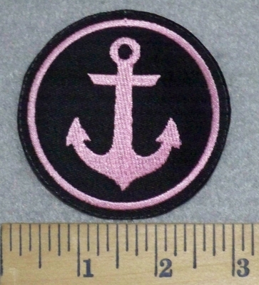 3230 L - Pink Anchor - Round - Embroidery Patch