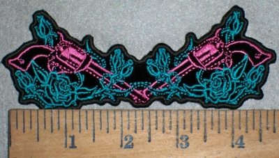 3506 G - Pink Guns And Roses - Embroidery Patch