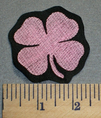 2394 L - Pink 4 Leaf Clover - Embroidery Patch