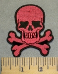 2441 G - DISCONTINUED  Pink Skull Face And Cross Bones - Embroidery Patch