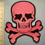 2450 G - Pink Skullface And Cross Bones - Back Patch - Embroidery Patch