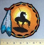 895 CP - Dreamcatcher With Indian Rider And Horse With Two Feathers - Sunset Background - Embroidery Patch -  Embroidery Patch