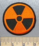 1960 W - Orange Nuclear Radiation Symbol - Embroidery Patch