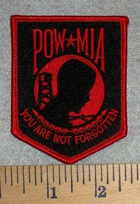2780 W - POW - MIA - You Are Not Forgotten - red - Embroidery Patch