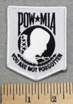 2848 W - POW-MIA - You Are Not Forgotten Shield - White Background - Embroidery Patch
