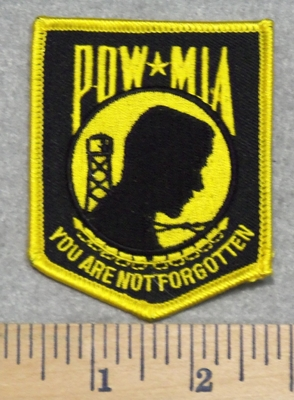 2849 W - POW - MIA - You Are Not Forgotten Shield- Yellow - Embroidery Patch