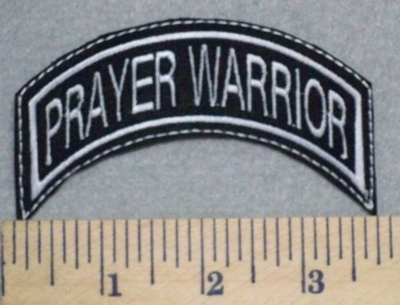 2577 L - Prayer Warrior - Mini Top Rocker - Embroidery Patch