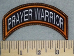 5762 L - Prayer Warrior - Mini  Top Rocker - Orange Border - Embroidery Patch