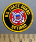 631 S - US Coast Guard - Retired -Round - Embroidery Patch