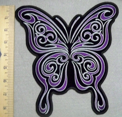 2533 G  - Purple Curly Butterfly - Back Patch - Embroidery Patch