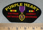 2615 W - Purple Heart medal Veitnam Veteran Combat Wounded With Rank Stripes - Embroidery Patchch