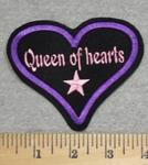 2838 L - Queen Of Hearts Enclosed Within Purple Heart - Embroidery Patch