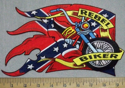 3558 N - Rebel Biker Banner With Confederate Flag and Motorcycle - Back Patch - Embroidery Patch