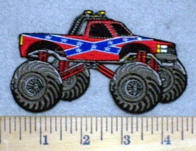 3406 N - Confederate Flag Truck - Embroidery Patch