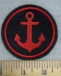 3229 L - Red Anchor - Round - Embroidery Patch