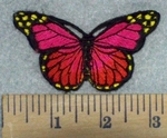 3212 C- Red And Fushia Pink Butterfly - Embroidery Patch