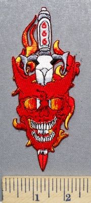 2099 N - 666 - Evil Skull  Devil With Sword Thru Head - Flames - Embroidery Patch -