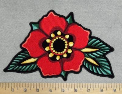 2856 G - Red Flower Back Patch - Embroidery Patch