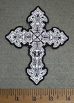 2758 G - Reflective- Celtic Cross With Skulls - 4 Inch - Embroidery Patch