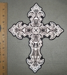 2757 G - Reflective - Celtic Cross With Skulls - Back Patch - Embroidery Patch