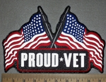 2661 G - REFLECTIVE - Proud Vet With American Flags - Back Patch - Embroidery Patch