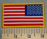 2384 W - Reverse American Flag With yellow Border - Embroidery Patch