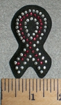 2744 L - Rhinestone Bling - Cancer Ribbon - Black - Embroidery Patch