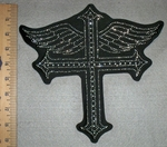 2742 L - Rhinestone Bling - Cross With Angel Wings - Black - Back Patch - Embroidery Patch