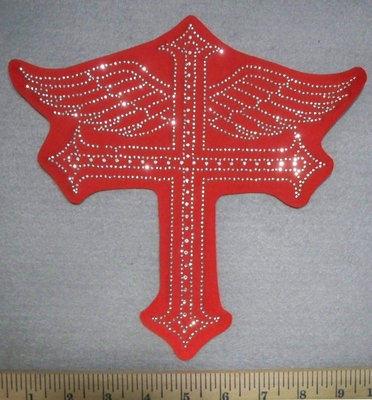 2741 L - Rhinestone Bling - Cross With Angel Wings - Red - Back Patch - Embroidery Patch
