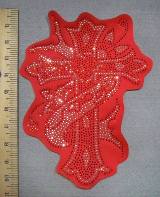 2738 L - Rhinestone Bling - Cross With Ribbon- Red - Back Patch - Embroidery Patch