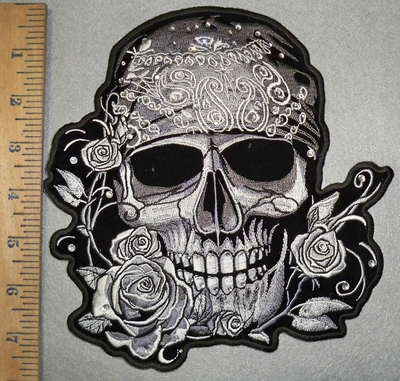 3590 G - Rhinestone - Bling - Skull Face With Bandana And Roses - Back - Embroidery Patch