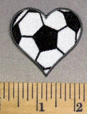 336 C - Soccer Heart - Embroidery Patch