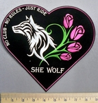 29 CP - No Club - No Rules - Just Ride - Heart Shaped - Wolf With Pink Roses - Back Patch