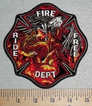 3073 W- Ride free Fire Dept With Fighting Eagle And Dragon In Fire - 5 Inch - Embroidery Patch
