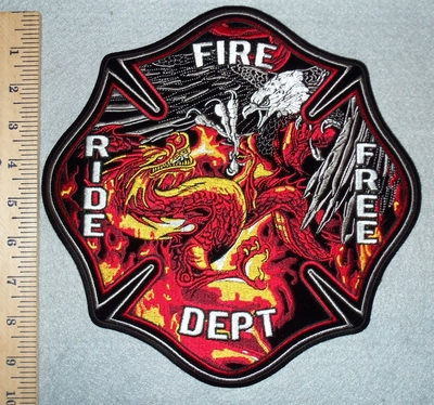 3075 G - Ride Free Fire Dept With Fighting Eagle And Dragon In Fire - Back Patch - Embroidery Patch