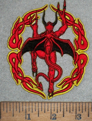 3504 W - Ring Of Fire WIth Devil - Embroidery Patch