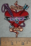 3528 N - Ruthless Bitch - Heart With Arrow,Whip And Slave Collar - Embroidery Patch