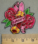 2458 N - Sassy With Lipstick And Roses - Embroidery Patch