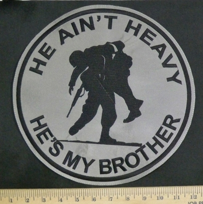 3312 L - He Ain't Heavy - He's My Brother - Injured Soldier Carried By Soldier - Round - Back Patch- Embroidery Patch