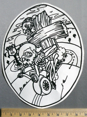 1503 L -Skull Riding Motorcycle - Wooden Cross With Vulture -Rt 66 - Back Patch - Embroidery Patch