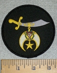 3184 W - Shrine Scimitar - Black - Round - Embroidery Patch