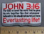 1343 S - JOHN 3:16 - Written On Holy Bible  - Embroidery Patch