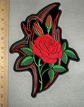 2667 G - DISCONTINUED Single Red Rose - Back Patch - Embroidery Patch
