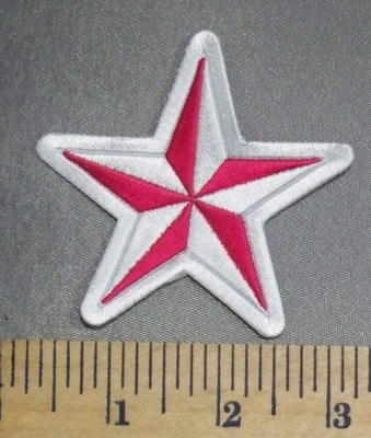 823 CP - Pink And White Star - Embroidery Patch