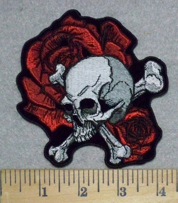 3274 G - Skull Face And Crossbones With Roses - 4 Inch - Embroidery Patch