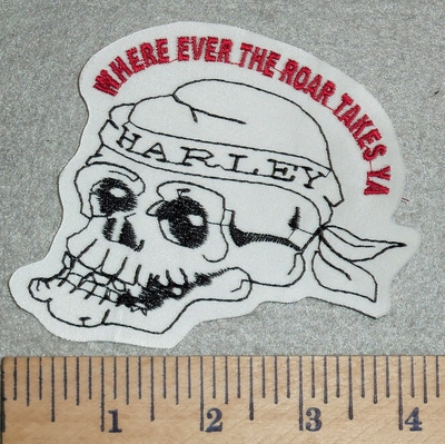 2989 L  - Skull Face - Harley Bandana - Where Ever The Roar Takes Ya - Embroidery Patch