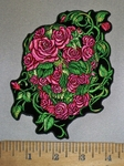 4384 G - Skull Face Made Of Pink Roses And Vines - Embroidery Patch